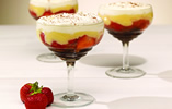 Strawberry and brownie trifles