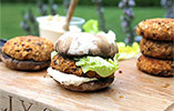 Naturally Sassy's Lentil & Sweet Potato Burgers with a Portobello 'bun'