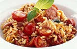 Risotto with Cherry Tomato, Chorizo and Tabasco Sauce