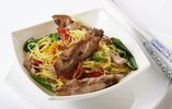 Duck Mini Fillets with Pak Choi, Noodles and Soy