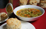 Spring Vegetable Soup with Walnut and Parmesan Scones