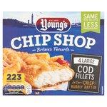 Young's Chip Shop 4 Large Battered Cod Fillets Frozen