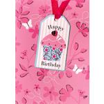 Pink Cupcake Birthday Card - Hand Finished