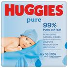 Huggies Pure Baby Wipes 4 x 56 per pack