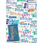 Gift Wrap 2 Sheet 2 Tag Pack - Happy Birthday Greetings