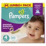 Pampers Active Fit Nappies Size 4 Jumbo Pack 64 per pack
