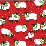 Festive Flock Red Lunch Napkins