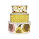 Orla Kiely Giant Pear Storage Bowls, Candy Floss, Set of 3